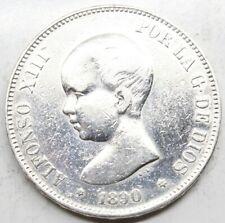 ESPAÑA ALFONSO XIII 1890 *18-90 MPM 5 PESETAS MONEDA PLATA MBC+