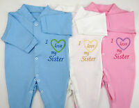 I Love My Sister or Sisters Baby Grow Vest Boy Girl Babies Clothes Funny Gift