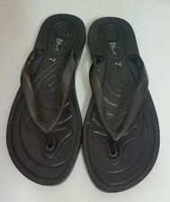 BHS Da Donna Infradito Taglia 40 EUR 7 UK Nera Pantofole Sandali Scarpe Basse Da Spiaggia Indoor