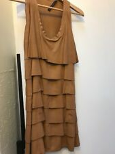 Zara women brown leather dress 100% Goat Skin Size Eur 8