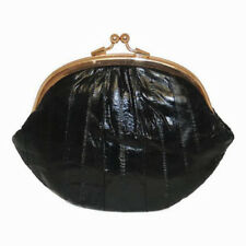 EEL SKIN LADY'S LARGE COIN PURSE CARD CHANGE HOLDER DOUBLE CLASP WALLET