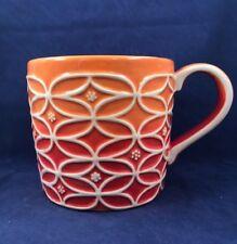 2009 Starbucks Orange Ombre Handpainted Coffee Mug Cup Geometric Sculpted Relief