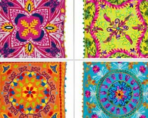 Indian Home Decor Floor SUZANI Woolen Embroidered Cushion Covers 16''/ 18''/ 20'