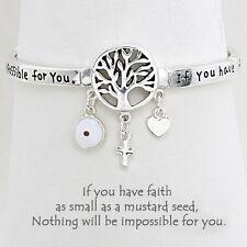 Tree of Life Charm Bangle Stretch Bracelet SILVER Evil Eye Mustard Seed Inspire