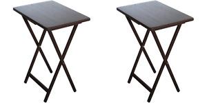 Mainstays (2-Pack) Folding TV Tray Table Set in Walnut 19x15x26 inch
