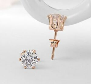 Rose Gold Plated Crystal Stud Pierced Earrings - New in Gift Box