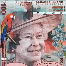 ALDABRA ISLAND 100 DOLLARS UNC 2018 FRONT AND BACK,SIDE TO SIDE FULL FACE QUE II