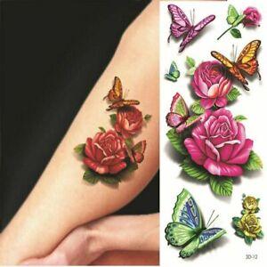 Flower Temporary Tattoo Realistic Body Art Rose Drawing waterproof sticker Women