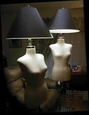 2 Mannequin Female Torso Lamps Rolling Display Steampunk Chrome Industrial Euc