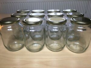 12x 500ml glass jars with lids - Food Grade for Jam Chutney Pickling Preserving
