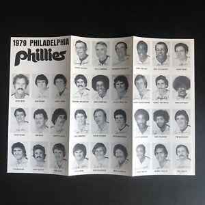 Vintage 1979 Philadelphia Phillies Foldable Roster & Schedule Players Photos