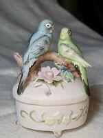Vintage Lefton Exclusives Japan #3433 Bisque Porcelain Parakeet Trinket Box MINT