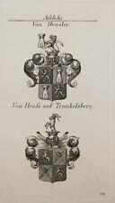 1847 Wappen Adelige Von Heusler von Heuß auf Trunkelsberg Kupfer Coat of Arms