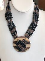 """Vintage Bohemian Beaded Chain Wood Gold Accented WPendant Necklace 16"""""""