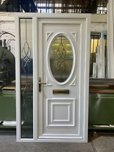 REFURBISHED UPVC DOOR & SIDELIGHT White, 1160mm Wide By 2045mm Height (D206)
