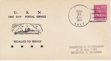 USS AULT RECALLED TO SERVICE MAR 21, 1951 NAVAL SHIP EVENT COVER