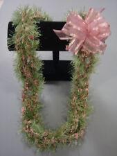 Hawaiian Eyelash Bud Yarn Crochet Lei Gift Green Pink