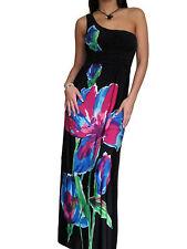 Mujer Negro Vestido Largo Elástico noche de verano talla 10 12 14 16 18