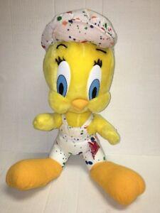 """1998 Looney Tunes PAINTER TWEETY BIRD 16"""" Plush Stuffed Animal ACE"""