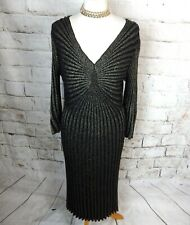 Stunning vintage gold black 20s flapper art deco party dress chic 12 sparkly