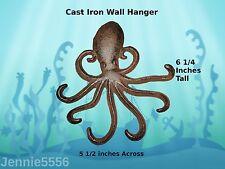 New Heavy Cast Iron Octopus Towel Hanger Coat Hooks Hat Hook, Key Rack Nautical