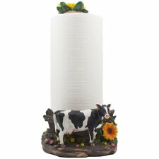 Decorative Holstein Cow Paper Towel Holder Display Stand with Sunflower Acc