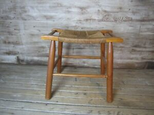 """Vintage French Country Rush Seat Stool Bench 18"""" Tall"""