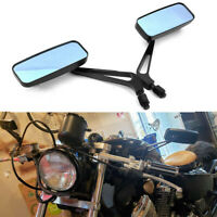 Black Rectangle Motorcycle Rearview Mirrors 8/10mm For Harley Cruiser Chopper