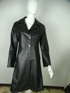 DENNY ROSE GIACCA JACKET CAPPOTTO LUNGO ECO PELLE  DONNA TAG SIZE M