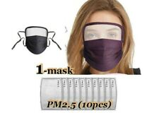 100% Cotton Mask with Eyes Shield + (10) pcs Filters - Us Seller