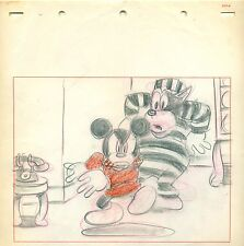 Mickey Mouse and Pete Disney cel Storyboard Drawing 1941