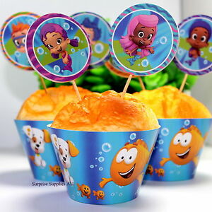 BUBBLE GUPPIES cupcake wrappers and toppers - Pack of 12  **AU SELLER!