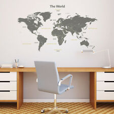 Decowall Modern World Map Nursery Kids Removable Wall Stickers Decal DL-1509G