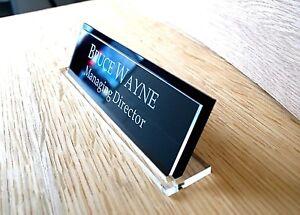 Acrylic Desk Name, Custom Engraved Sign, Contemporary Name Plaque, Office