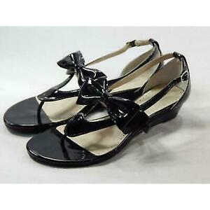 Adrienne Vittadini Women's Verne Black Patent Sandal 8M