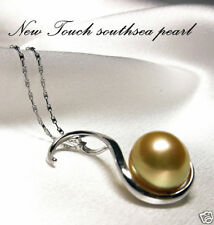 with 18K South Sea Round pearl 13.3mm Golden South Sea pearl color pendant