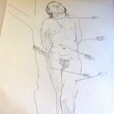 Vtg Male Physique Nude Pencil Sketch Drawing By William Anton Kleiner Gay Int #2