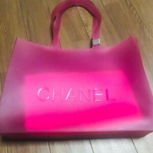 CHANEL Rubber Clear Tote Bag CC Logo Shoulder Pink Authentic Vintage