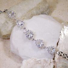 "15Ct White Topaz Victorian Style Silver Bracelet 7"" Gbr179"