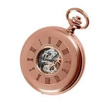 Woodford Rose Gold Plated Mechanical Skeleton Half Hunter Pocket Watch. ref 1092