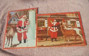 Vtg Htf Santa's Workshop North Pole NY Photo Xmas 2 1960s Reindeer Puzzle 100%