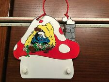 Vintage SMURFS Plastic Mushroom House Hanging Interchangable Door Sign 1980 Peyo