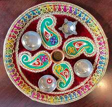 Diwali Pooja Rakhi Thali Tilak Decor Platter Set for Brother Laxmi/Ganesh Pooja