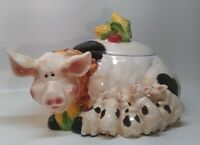 "Pig Cookie Jar Smiling With All Of Her Babies Vegetables On Lid 14"" long RARE"
