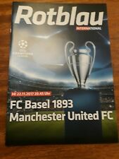 2017 FC BASEL v MAN MANCHESTER UTD UNITED CHAMPIONS LEAGUE PROGRAMME