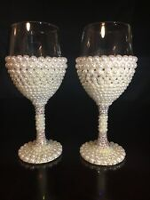 Customized Handcrafted Glass Crystals Pearls Wine Glasses Set of Two