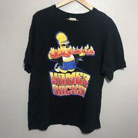 Homer Rocks Flaming Guitar Simpsons Black Tshirt Mat Groening Size Large L 2009