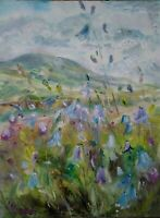 Harebells with Penhill,Wensleydale.  Impressionism.Oil on board Yorkshire Dales