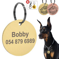 Dog Tags for Pets Engraved Stainless Steel Personalised ID Name Tags Round Gold