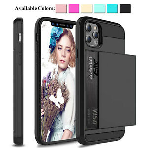 For iPhone 12 Pro Max 11 Xs XR Shockproof Hard Case Wallet Credit Card Holder